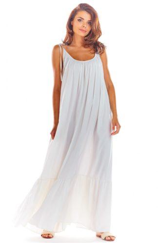 Luźna sukienka maxi na ramiączkach biała
