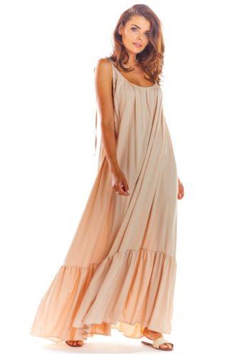 Luźna sukienka maxi na ramiączkach beżowa