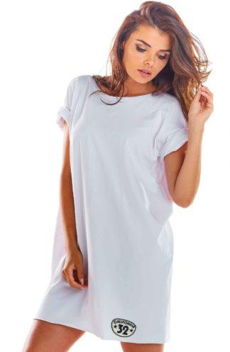 Sukienka z podwijanym rękawem biała