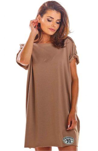 Sukienka z podwijanym rękawem beżowa