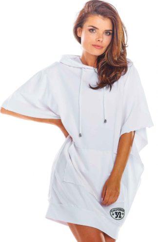 Sukienka oversize z kapturem biała