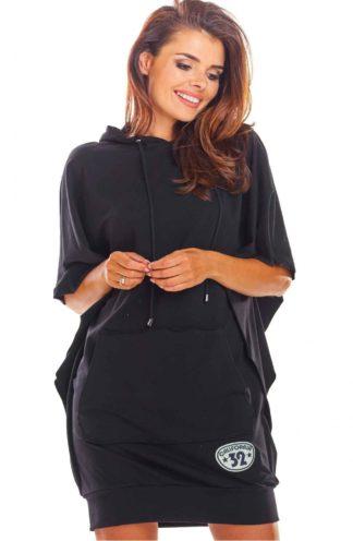 Sukienka oversize z kapturem czarna