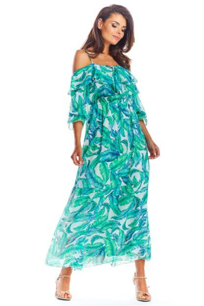Długa sukienka na ramiączkach z falbanami turkusowa
