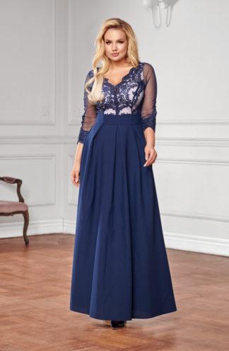Suknia maxi z długimi rękawami