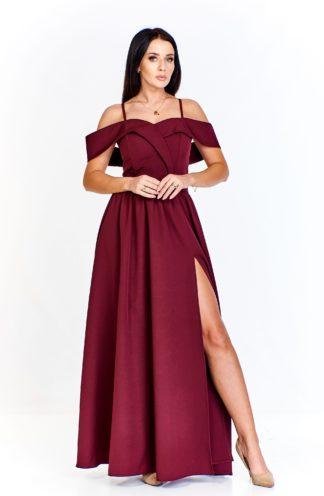 Długa suknia z opadającymi ramionami