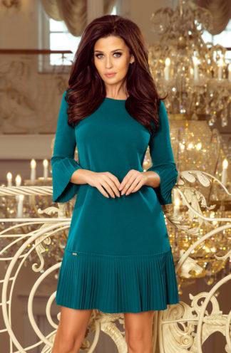Sukienka z plisowaną falbaną niebieska