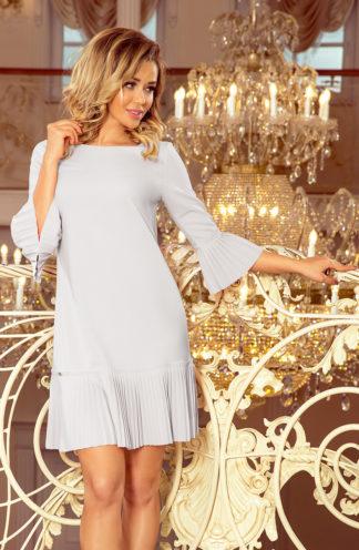 Sukienka z plisowaną falbaną szara