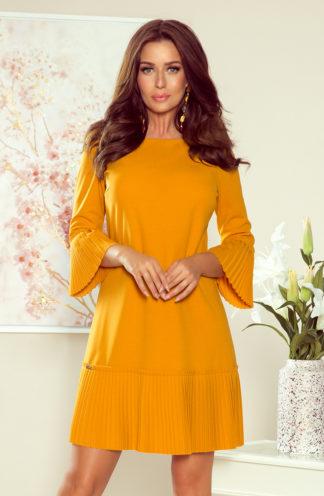 Sukienka z plisowaną falbaną musztardowa