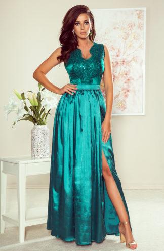 Długa suknia z dekoltem morski