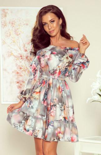 Sukienka hiszpanka z falbankami szara w kwiaty
