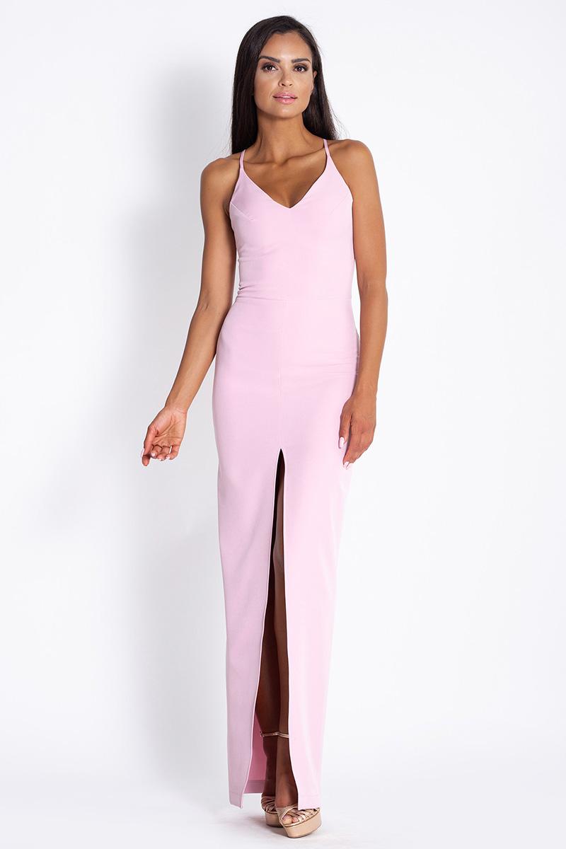 Długa dopasowana sukienka na ramiączkach różowa