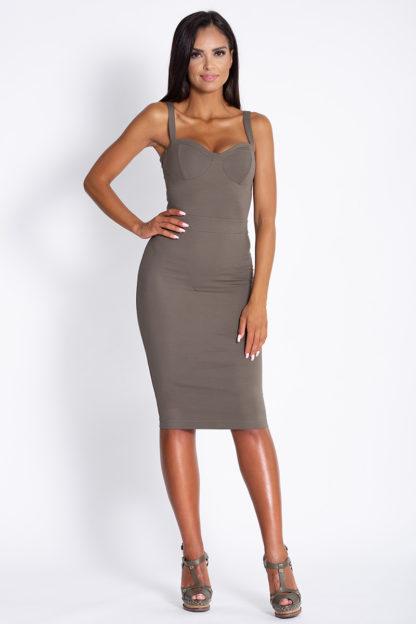 Ołówkowa sukienka na ramiączkach oliwkowa
