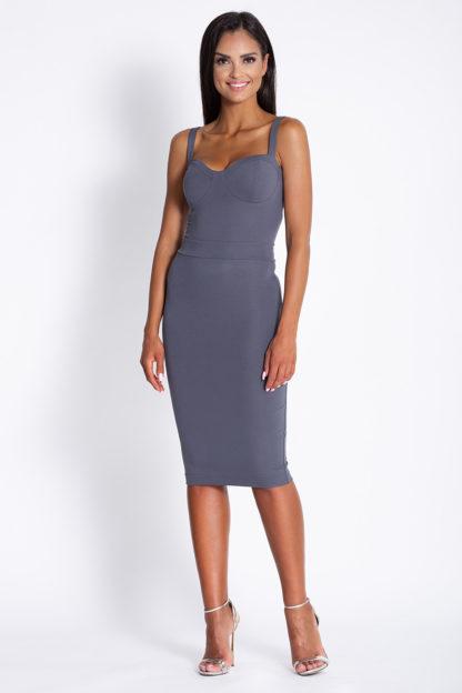 Ołówkowa sukienka na ramiączkach szara