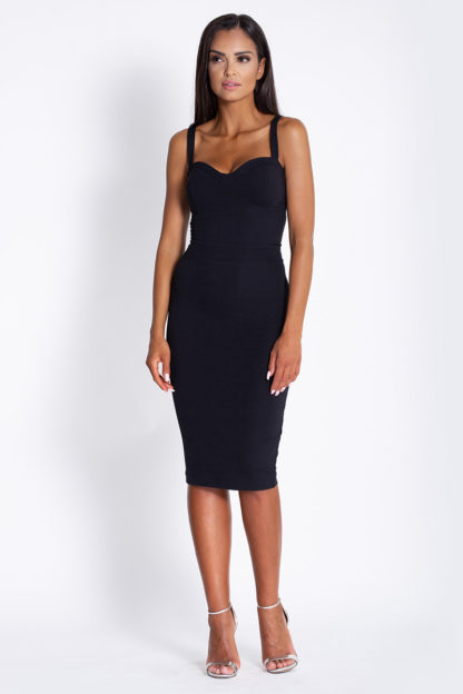 Ołówkowa sukienka na ramiączkach czarna