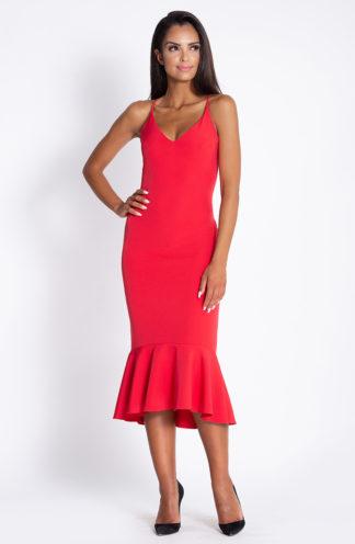 Ołówkowa sukienka z falbaną czerwona