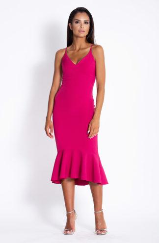 Ołówkowa sukienka z falbaną fuksja