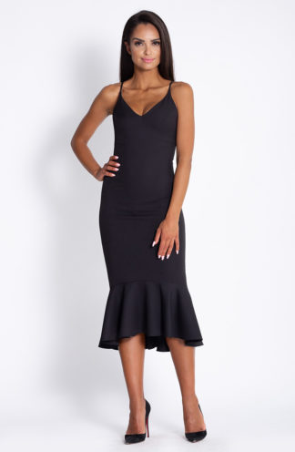 Ołówkowa sukienka z falbaną czarna