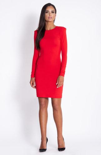 Sukienka z poszerzanymi ramionami czerwona