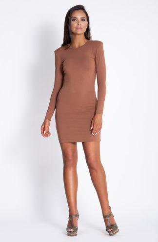 Sukienka z poszerzanymi ramionami brązowa