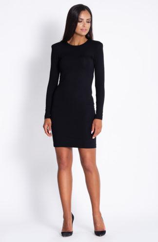 Sukienka z poszerzanymi ramionami czarna