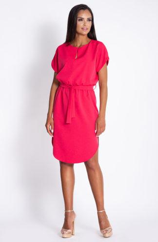 Luźna sukienka z wiązaniem malinowa