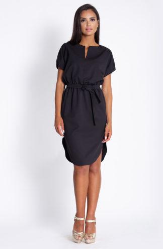 Luźna sukienka z wiązaniem czarna