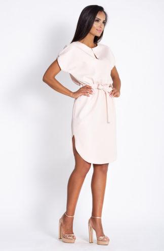 Luźna sukienka z wiązaniem beżowa