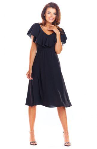 Zwiewna sukienka midi czarna