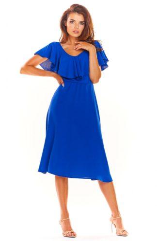 Zwiewna sukienka midi chabrowa