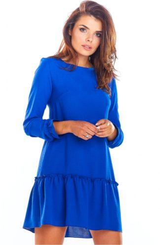 Trapezowa sukienka z falbaną chabrowa
