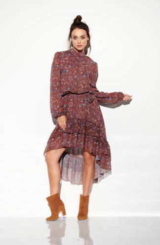 Asymetryczna sukienka z rękawem brązowa