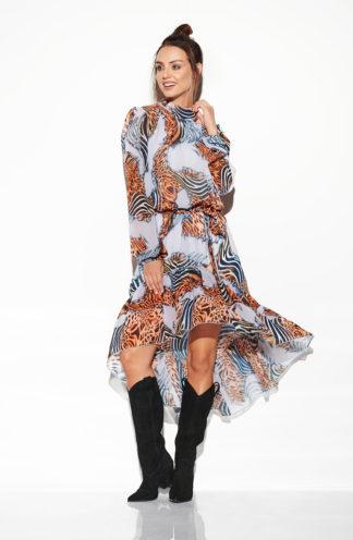 Asymetryczna sukienka z rękawem we wzory