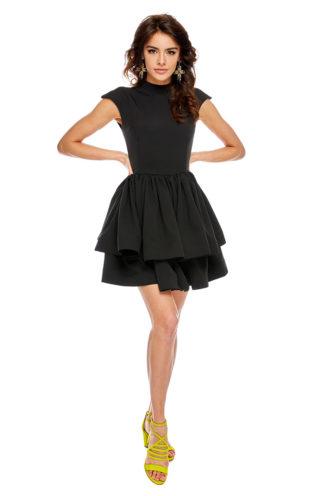 Rozkloszowana sukienka na stójce czarna