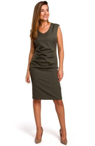 Ołówkowa sukienka z marszczeniem khaki