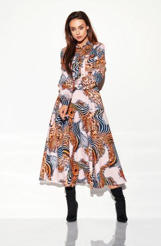 Długa sukienka szmizjerka beżowa we wzory
