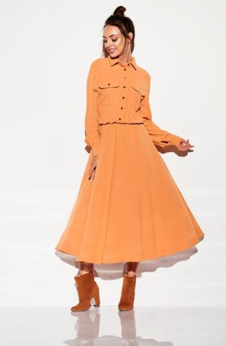 Długa sukienka szmizjerka brąz
