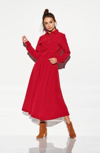 Długa sukienka szmizjerka bordowa