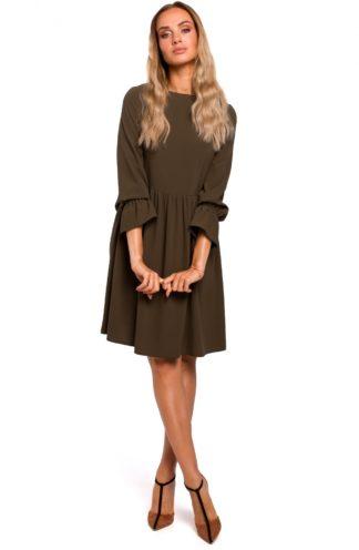 Prosta sukienka z rękawami z falbanką khaki
