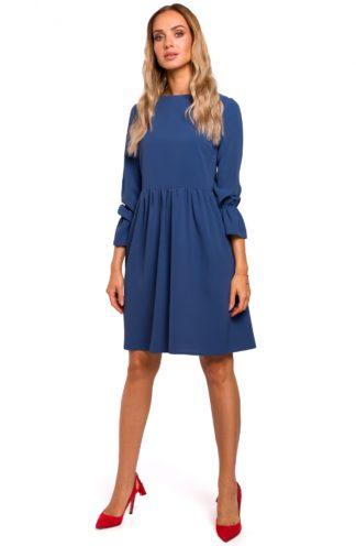 Prosta sukienka z rękawami z falbanką niebieska