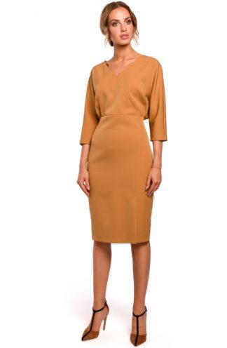 Sukienka z luźniejsza górą brąz