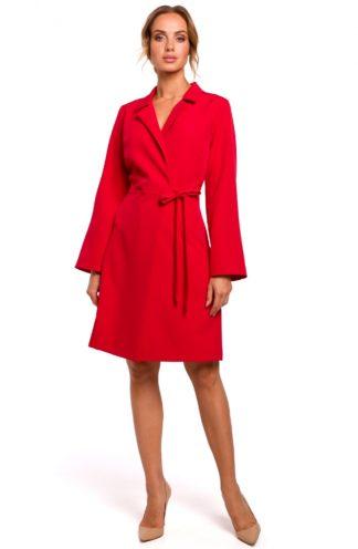 Wiązana sukienka z kołnierzykiem czerwona