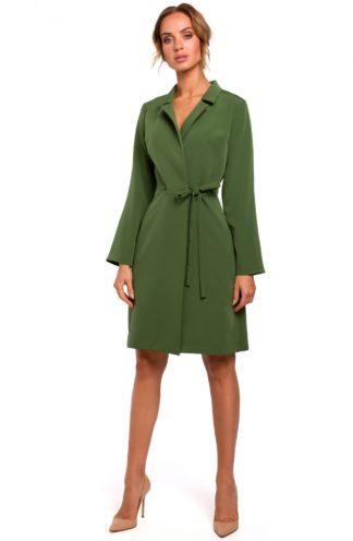 Wiązana sukienka z kołnierzykiem zielona