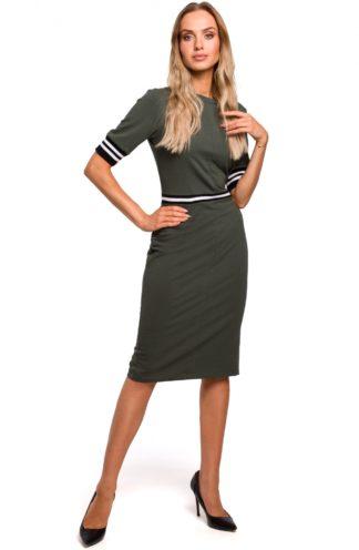 Ołówkowa sukienka ze ściągaczami khaki