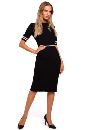 Ołówkowa sukienka ze ściągaczami czarna