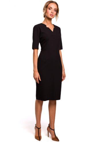 Ołówkowa sukienka midi z dekoltem czarna