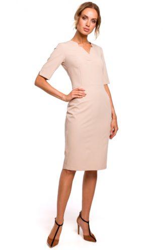 Ołówkowa sukienka midi z dekoltem beżowa