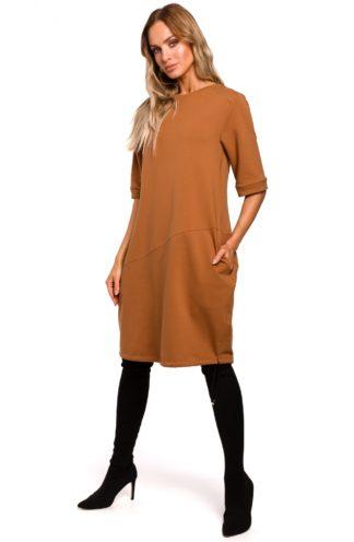 Sukienka oversize z kieszeniami brązowa