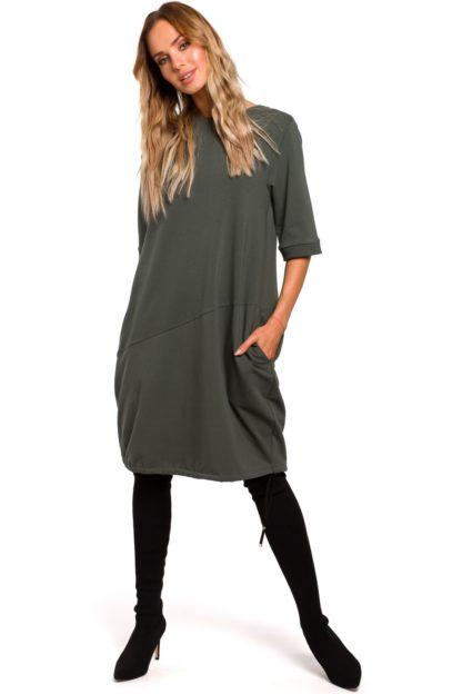 Sukienka oversize z kieszeniami khaki