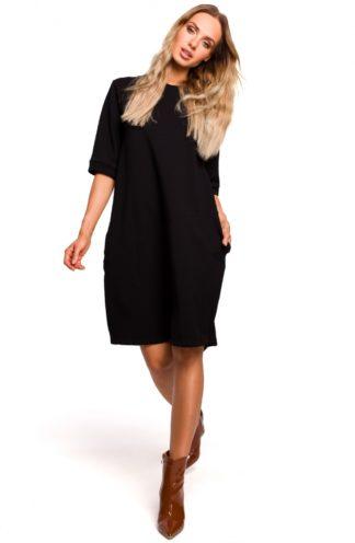 Sukienka oversize z kieszeniami czarna