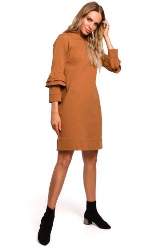 Trapezowa sukienka z falbankami brązowa